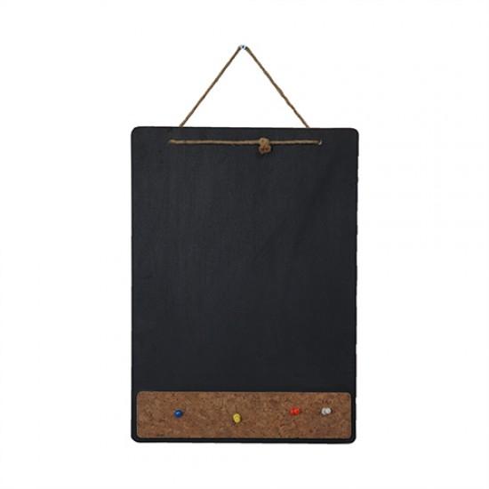 Vivekka İp Askılı  Mantarlı Kara Tahta - A4 Boyutunda