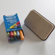 10 Adet Renkli + 10 Adet Beyaz Tebeşir & Silgi Seti