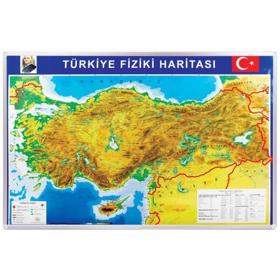 Vivekka 70X100 Alüminyum Çerçeve Türkiye Fiziki Harita