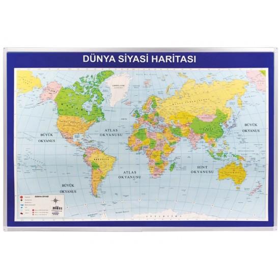Vivekka 70X100 Alüminyum Çerçeve Dünya Siyasi Haritası