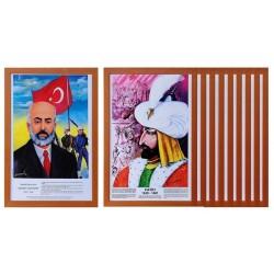 Vivekka 35X50 Mdf Çerçeve Türk Büyükleri Seti 23'Lü