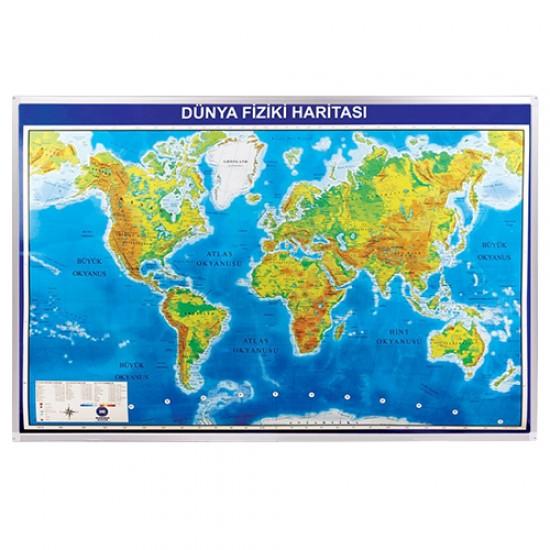 Vivekka 70X100 Alüminyum Çerçeve Dünya Fiziki Harita